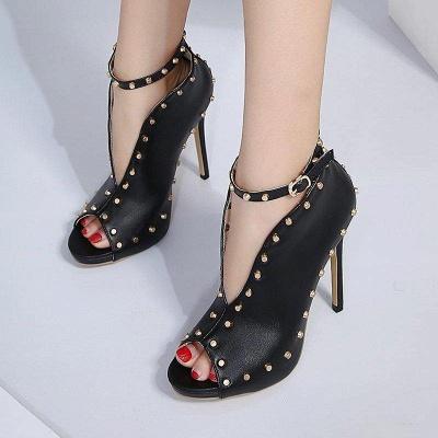 Buckle Elegant Pointed Toe Rivet Boots On Sale_2