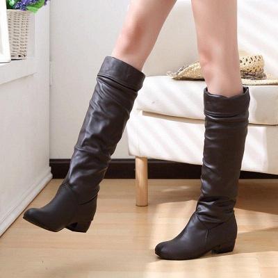 Chunky Heel Daily PU Round Boots On Sale_2