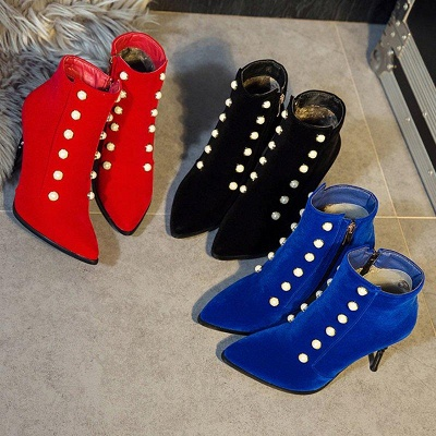 Suede Daily Stiletto Heel Pointed Toe Zipper Boots On Sale_5