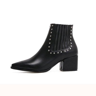 Chunky Heel Daily Pointed Toe Boots On Sale_5