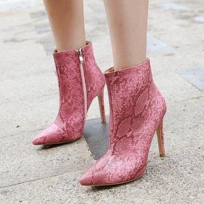 Women's Boots Stiletto Heel Pink Zipper Pointed Toe Sexy Boots On Sale_3