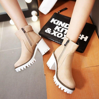 Daily Chunky Heel Zipper Round Boots On Sale_8