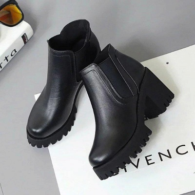 Daily Zipper Chunky Heel Round Toe Suede Boots On Sale_7