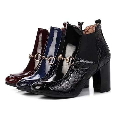 Daily Chunky Heel PU Round Boots On Sale_4