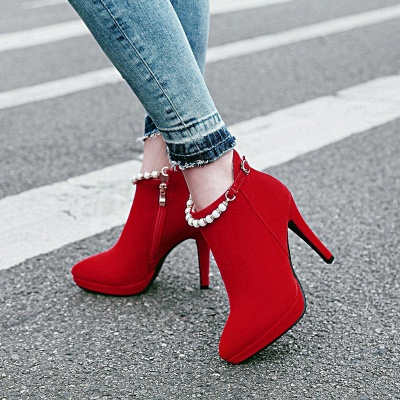 Women's Boots Ankle Boots Stiletto Heel Nubuck PU Shoes On Sale_3