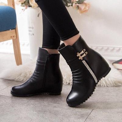 Daily Zipper PU Wedge Heel Round Toe Elegant Boots On Sale_2