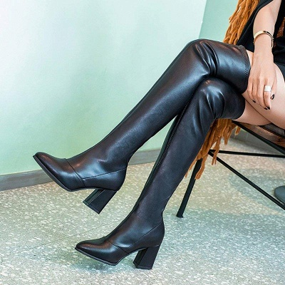 Black Winter Chunky Heel Daily Pointed Toe Boots On Sale_1