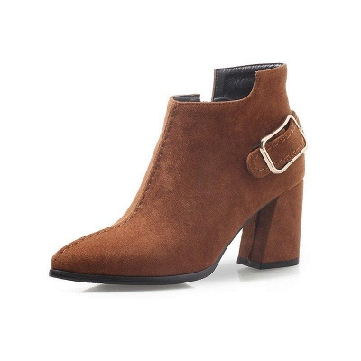 Daily Chunky Heel Suede Elegant Round Toe Boots On Sale_5