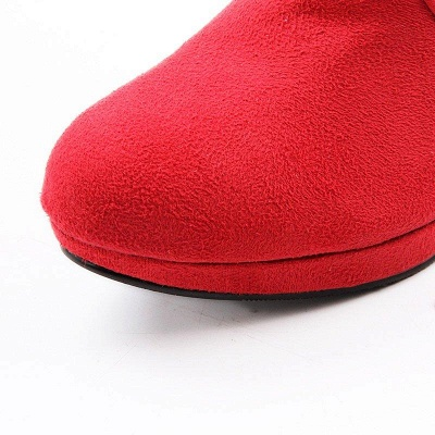 Suede Fall Daily Cone Heel Round Boots On Sale_7