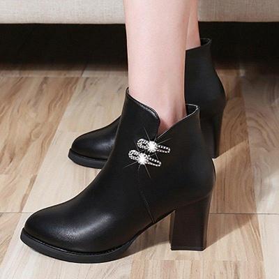 Chunky Heel Rhinestone Daily Pointed Toe Zipper Elegant Boots On Sale_8