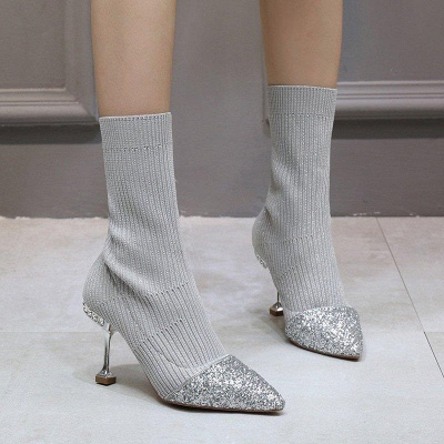 Daily Pointed Toe Cone Heel Knitted Fabric Boots On Sale_4