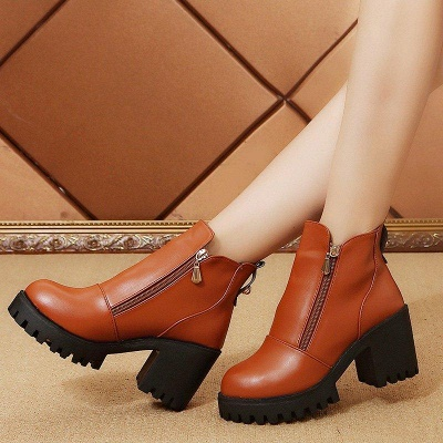 Zipper Chunky Heel Daily Round Toe Boots On Sale_4