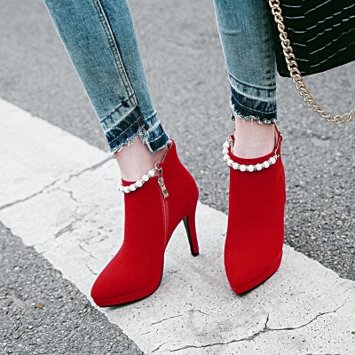 Women's Boots Ankle Boots Stiletto Heel Nubuck PU Shoes On Sale_1