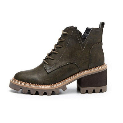 Daily Lace-up Chunky Heel Round Toe Boots On Sale_7