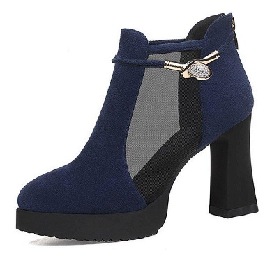 Daily Chunky Heel Buckle Pointed Toe Elegant Boots On Sale_6