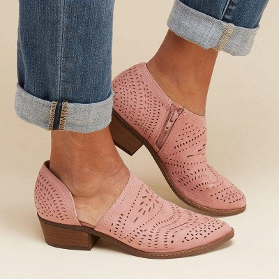 Hollow-out Low Heel Summer Faux Suede Boot On Sale_18
