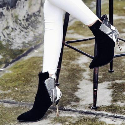 Zipper Pointed Toe Stiletto Heel Elegant Boots On Sale_2