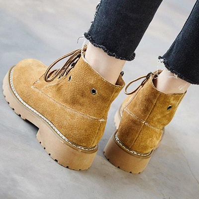 Leather Chunky Heel Lace-up Round Boots On Sale_7