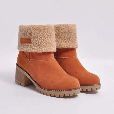 Nubuck Chunky Heel Slip-On Round Toe Boots On Sale_5