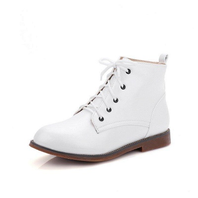 Low Heel Lace-Up Pointed Boots On Sale_1