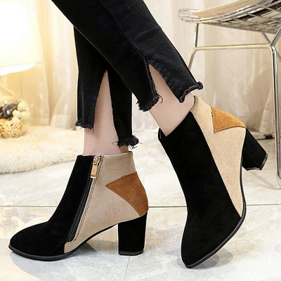 Zipper Chunky Heel Daily Pointed Toe Elegant Boots On Sale_2