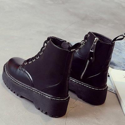 Platform Lace-up Round Boots On Sale_7