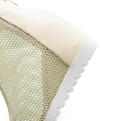 Zipper Daily Peep Toe Wedge Heel Boots On Sale_8