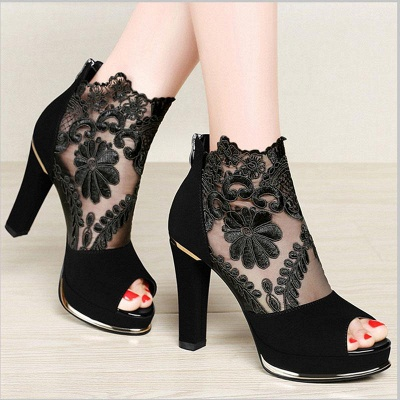 Black Lace Chunky Prom Shoes Party Shoes On Sale_3