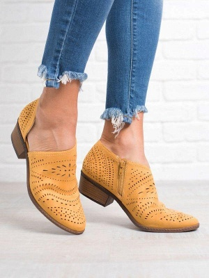 Hollow-out Low Heel Summer Faux Suede Boot On Sale_9