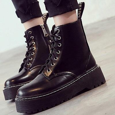Platform Lace-up Round Boots On Sale_1