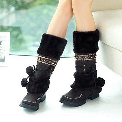 Fur Chunky Heel Suede Round Boots On Sale_1