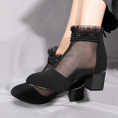 Daily Mesh Fabric Zipper Round Toe Boots On Sale_3