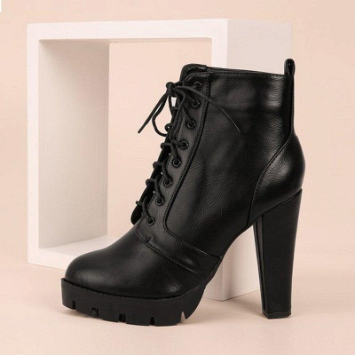 Chunky Heel PU Lace-up Boots On Sale_2