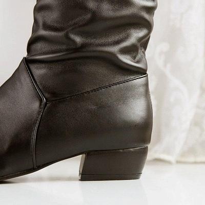 Chunky Heel Daily PU Round Boots On Sale_7