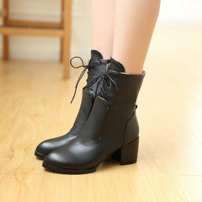 Chunky Heel Lace-up Working Pointed Toe Boots On Sale_2