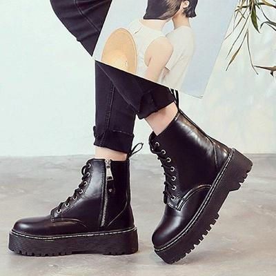 Platform Lace-up Round Boots On Sale_3