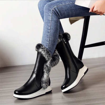 Wedge Heel Daily Zipper Round Toe Boots On Sale_2