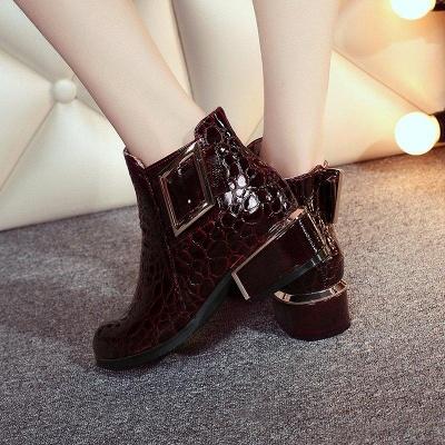 Zipper Chunky Heel Embossing Boots On Sale_7