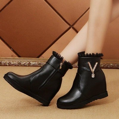 Rhinestone Round Toe Zipper Elegant Wedge Heel Boots On Sale_4