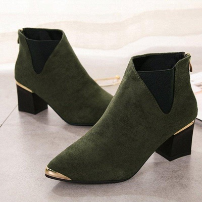 Suede Chunky Heel Pointed Toe Boots On Sale_4
