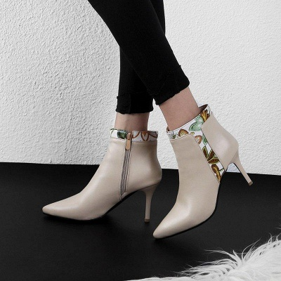 Zipper Daily Pointed Toe Elegant Stiletto Boots On Sale_4