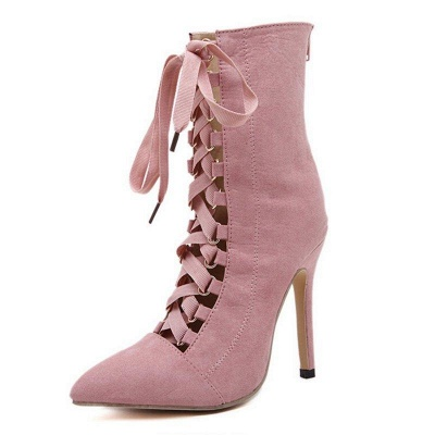 Lace-up Stiletto Heel Daily Elegant Pointed Boots On Sale_2