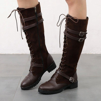 Daily Buckle Chunky Heel Suede Round Toe Boots On Sale_2