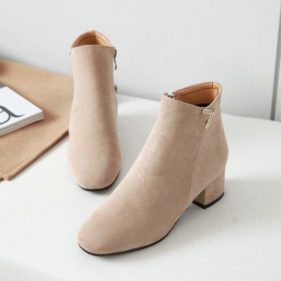 Zipper Chunky Heel Suede Boots On Sale_4
