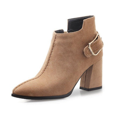Daily Chunky Heel Suede Elegant Round Toe Boots On Sale_6