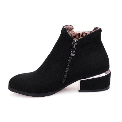 Chunky Heel Suede Button Boots On Sale_7
