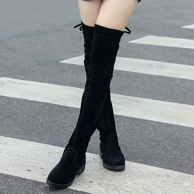 Black Suede Daily Chunky Heel Round Toe Boots On Sale_1