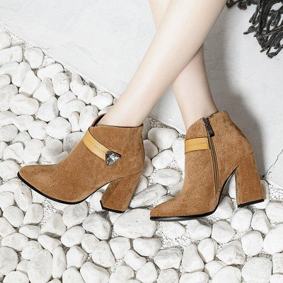 Zipper Chunky Heel Daily Suede Elegant Pointed Toe Boots On Sale_9