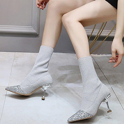 Daily Pointed Toe Cone Heel Knitted Fabric Boots On Sale_5