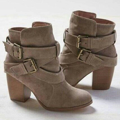Chunky Heel Daily Buckle Suede Boots On Sale_1